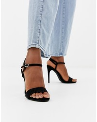 Sandalias de tacón de ante negras de New Look