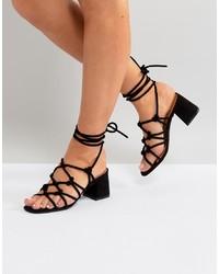 Sandalias de tacón de ante negras de Public Desire