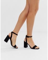Sandalias de tacón de ante negras de RAID