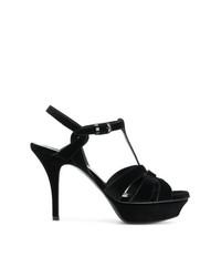 Sandalias de tacón de ante negras de Saint Laurent