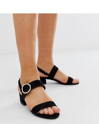 Sandalias de tacón de ante negras de Simply Be Extra Wide Fit