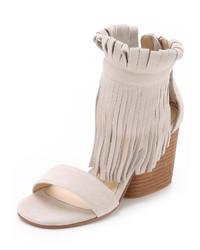 Sandalias de tacón de ante сon flecos blancas de Matiko