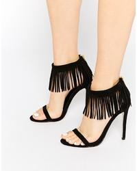Sandalias de tacón de ante сon flecos negras de Asos