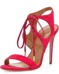 Sandalias de tacón de ante rosa
