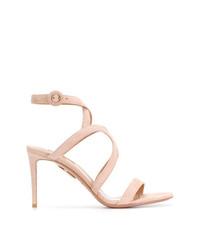 Sandalias de tacón de ante rosadas de Aquazzura