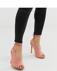 Sandalias de tacón de ante rosadas de ASOS DESIGN