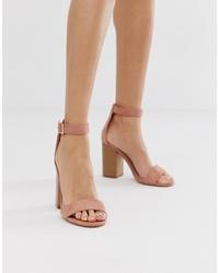 Sandalias de tacón de ante rosadas de Glamorous