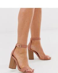 Sandalias de tacón de ante rosadas de Glamorous Wide Fit