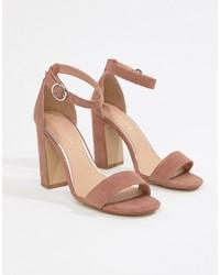 Sandalias de tacón de ante rosadas de New Look