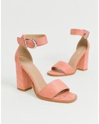 Sandalias de tacón de ante rosadas de RAID