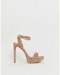 Sandalias de tacón de ante rosadas de Steve Madden