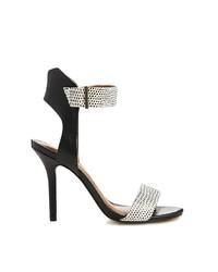 Sandalias de tacón de cuero a cuadros en negro y blanco de Miss KG