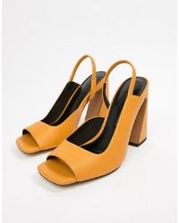 Sandalias de tacón de cuero amarillas de ASOS DESIGN