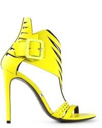 Sandalias de tacón de cuero amarillas de Gianmarco Lorenzi