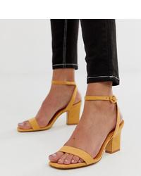 Sandalias de tacón de cuero amarillas de Mango