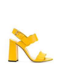 Sandalias de tacón de cuero amarillas de Marskinryyppy
