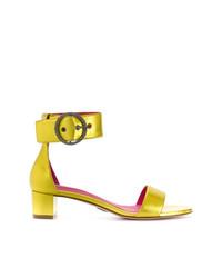 Sandalias de tacón de cuero amarillas de Oscar Tiye