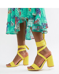 Sandalias de tacón de cuero amarillas de Park Lane