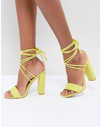 Sandalias de tacón de cuero amarillas de Public Desire