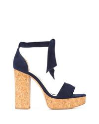 Sandalias de tacón de cuero azul marino de Alexandre Birman