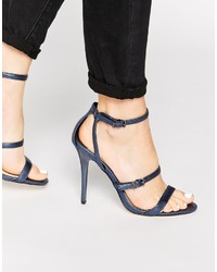 Sandalias de tacón de cuero azul marino de Faith