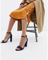 Sandalias de tacón de cuero azul marino de Glamorous