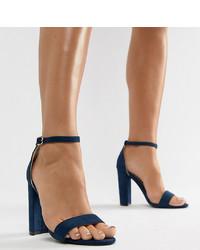 Sandalias de tacón de cuero azul marino de Glamorous Wide Fit