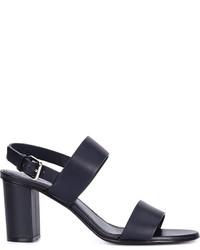 Sandalias de tacón de cuero azul marino de Jil Sander