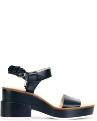 Sandalias de tacón de cuero azul marino de Jil Sander Navy