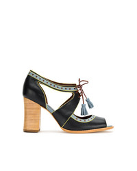 Sandalias de tacón de cuero azul marino de Sarah Chofakian