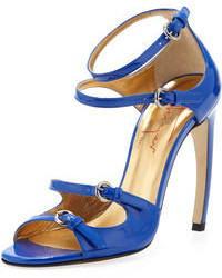 Sandalias de tacón de cuero azules