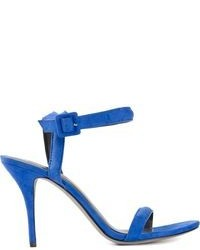 Sandalias de tacón de cuero azules de Alexander Wang