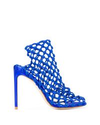Sandalias de tacón de cuero azules de Francesco Russo