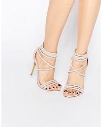 Sandalias de Tacón de Cuero Beige