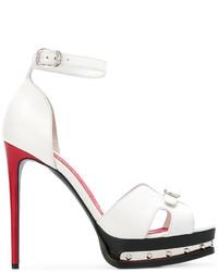 Sandalias de Tacón de Cuero Blancas de Alexander McQueen