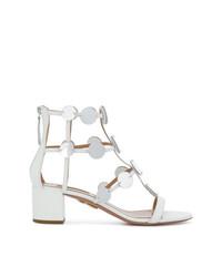 Sandalias de tacón de cuero blancas de Aquazzura