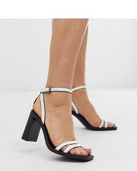 Sandalias de tacón de cuero blancas de Bershka