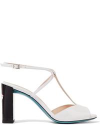 Sandalias de tacón de cuero blancas de Fendi
