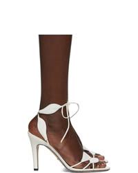 Sandalias de tacón de cuero blancas de Gucci