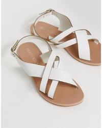 Sandalias de tacón de cuero blancas de Head over Heels by Dune