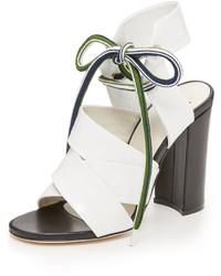 Sandalias de tacón de cuero blancas de MSGM
