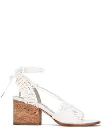 Sandalias de tacón de cuero blancas de Paloma Barceló