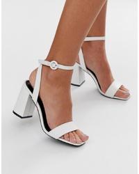 Sandalias de tacón de cuero blancas de RAID