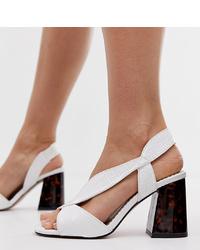 Sandalias de tacón de cuero blancas de River Island