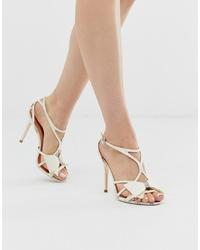 Sandalias de tacón de cuero blancas de Ted Baker