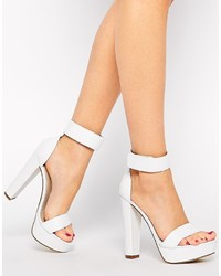 Sandalias de tacón de cuero blancas de Windsor Smith