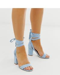 Sandalias de tacón de cuero celestes de ASOS DESIGN