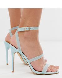 Sandalias de tacón de cuero celestes de Miss Selfridge