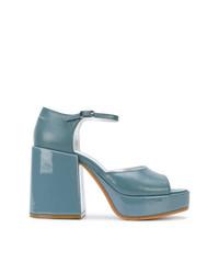 Sandalias de tacón de cuero celestes de MM6 MAISON MARGIELA