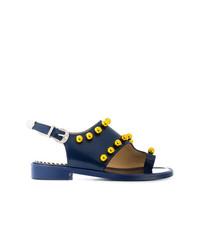 Sandalias de tacón de cuero con adornos azul marino de Toga Pulla